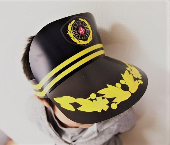 子供に配ってくれた能勢電鉄のペーパー製駅長帽