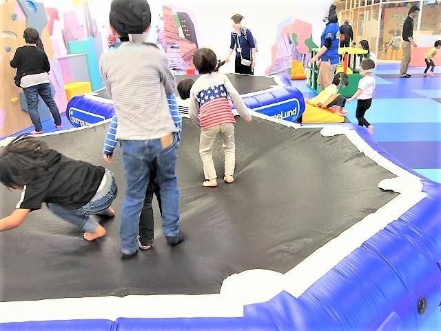 大型トランポリンで飛び跳ねて遊ぶ子供たち