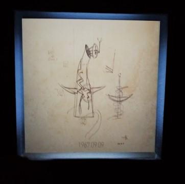 岡本太郎が描いた太陽の塔のデッサンが飾られている