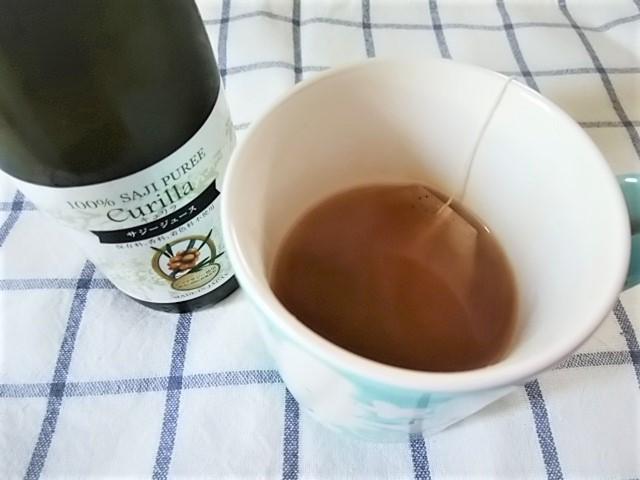 サジージュースを紅茶に入れるとレモンティーのような風味になっておいしい